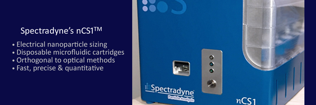 Spectradyne's nCS1 uses electrical sensing with disposable cartridges to detect nanoparticles 40 nm and larger